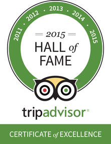 2015 Hall of Fame - TripAdvisor Certificate of Excellence